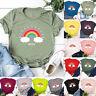 Womens Rainbow Tee Blouse Casual Ladies Shirt Basic Loose Sweatshirt Summer Tops