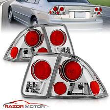 For 2001 2002 2003 2004 2005 Honda Civic Sedan Chrome Tail Lights Brake Lamps Fits 2004 Honda Civic