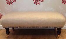 Footstool Stool In Laura Ashley Dalton Sable Fabric
