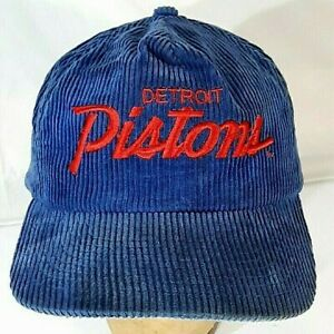 True Vtg The Cord Blue Corduroy Detroit Pistons NBA Cap Hat One Size Fits All