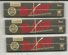 CLASSIC BLACK RAW CIGARETTE ROLLING PAPER KING SIZE SLIM 3 PACK 32 PAPERS EACH