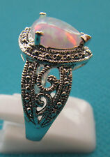 925 Silver Plated Pear Cut, Lab Created White Fire Opal Size R 1/2 US 9 (rg2255)