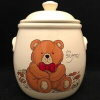 "Treasure Craft I'm Stuffed Teddy Bear Cookie Jar USA 10"" Tall"