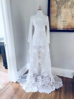 White BoHo Sheer CUT OUT Hippy Wedding Maxi DRESS Vtg Crochet Lace Small Medium