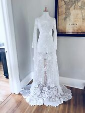 White BoHo Sheer CUT OUT Hippy Wedding Maxi DRESS Vtg Crochet Lace Small Medium