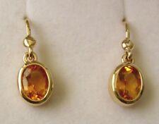 GENUINE 9K 9ct SOLID Gold  NATURAL CITRINE HOOK DROP DANGLE EARRINGS