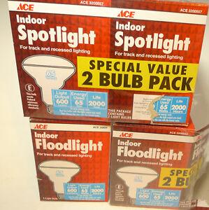 Lot 4 New Ace Indoor Spotlight Floodlight Bulbs 65 watt 600 Lumens