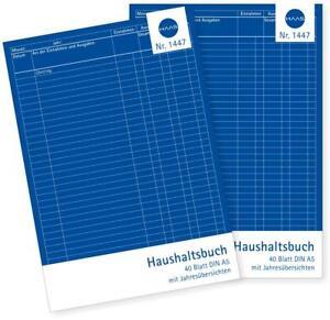 2 x Haushaltsbuch A5 80 Seiten Haushalt Einnahmen/Ausgaben Etat Budget Haushalt