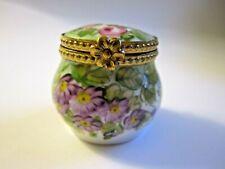 Signed Limoges France Peint Main Floral Hinged Trinket Box