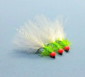 3 x Hothead Cats Whisker Flies White Marabou, UV Straggle Trout Fly Lure Size12