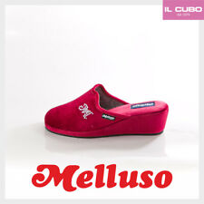 MELLUSO PANTOFOLA DONNA VELLUTO BORDO' ZEPPA H 5 CM MADE IN ITALY NEW COLLECTION