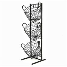 3 Tier Metal Wire Fruit Vegetable Basket Bowl Rack Stand Kitchen Storage Unit