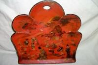 ANTIQUE FRENCH PAPER MACHE CHINOISERIE CRUMBER TRAY ORANGE GILT EARLY 1900's