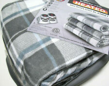 Biddeford Electric Warming Micro Plush Gray Blue Plaid Queen Blanket 2 Controls