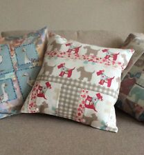 Handmade Patchwork Pink Scottie Dog Cushion Cover
