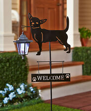 Chihuahua Dog Welcome Stake Solar Light Lantern Yard Garden Deck Patio Decor