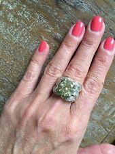 "NEW ""designer inspired"" Large Yellow CZ Ring w.Pave Detail size 7 GORGEOUS"
