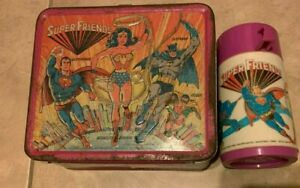 DC Super Friends Vintage 1976 Aladdin Metal Lunch Box HAS Thermos w/ Lid & Cup