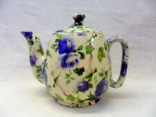 Blue Ivy Rose design 1 cup teapot by Heron Cross Pottery