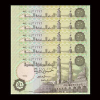Lot 5 PCS, Egypt 50 Piastres,  random year, P-62, UNC, 1/20 Bundle