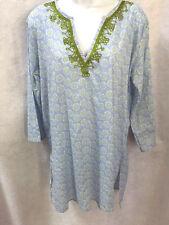 Rock Flower Paper Blue cotton tunic / blouse /  size M
