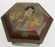 Dutch 1900 signed shop display Tin, Jar  Chinese Geisha's & Man Toffee van Melle