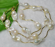 """NATURAL PEARL 15-23mm SOUTH SEA WHITE BAROQUE PEARL NECKLACE 30"""" 14K JN580"""