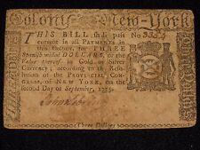 US NY Colonial Currency - 3 dollar - September 2, 1775 ** NY-179 ** (CC-208)