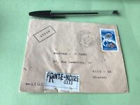 Pointe Noir Congo  to Nice France registered stamps cover Ref 51340