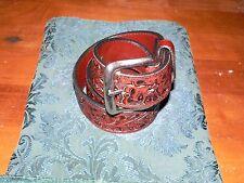 Nacona Belt Co Dark Brown Hand Tooled Leather Belt, Size 30