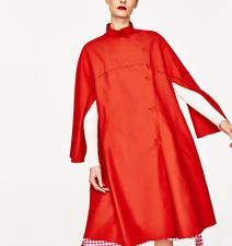 New Zara Discontinued Coral Red Oversized Cape Trench Coat with pockets