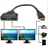 1080P HDMI Port Male to 2Female 1 In 2 Out Splitter Cable Adapter Converter UK.