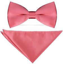 SX rosa T3D6 Herren schlicht Polyester Pre-Tied Hochzeit Fliege
