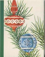 VINTAGE CHRISTMAS OLD FASHIONED ORNAMENTS PINE NEEDLES TREE GREETING CARD PRINT