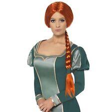 Shrek Princess Fiona Licensed Ogre Ginger Wig Adult Women's Fancy Dress