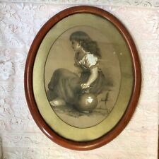 More details for antique oval charcoal picture of a young peasant girl framed signed initials lcf