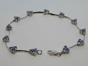 "AU 14K White Gold Tanzanite Gem Delicate Wavy Bar Link Bracelet 4.9g, 6.5"" fit"