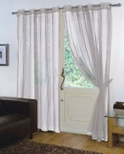 PAIR - VOILE NET PANELS EYELET / RING TOP 59'' X 72'' CURTAINS - SILVER