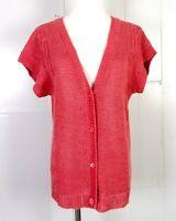 vtg 1970s 70s rare Calvin Klein 100% Linen Cap Sleeve Cardigan Cable Knit sz L
