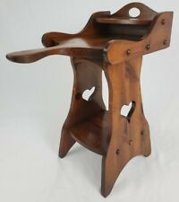 Vintage Wood Telephone Table Accent Plant Stand Country Rustic Hearts Farmhouse