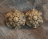 VINTAGE twin domed openwork Circle Brooch Celtic?? Unsual