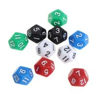 10pcs 12 Sided Acrylic Number Dice Family Party Bar Night Club Board Game