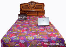 New Indian Cotton Screen Print Kantha Quilt Blanket Bedspread Coverlet Bedding