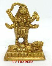 KALI BRASS STATUE ALTER MEDITATION DURGA KAALI MAA HINDU GODESS IDOL K15M2