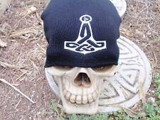 celtic w rune thick hammer black embroiderd beanie hat thors hammer asatru norse