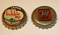 Vintage Lot (2) Cork Lined Soda Pop Crown Bottle Caps Bubble Up Lemon Lime & 7UP