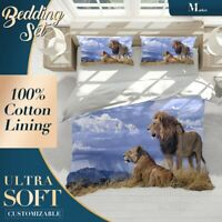 Roaming Lions Wild Animal Blue Quilt Cover Set with 2x Matching Pillowcases