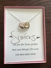 Three Love Heart Pendant Necklace w/ poem for Sister/Friend
