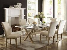 NEW 7PC MIERA GRAY ZINC TOP WEATHERED OAK FINISH WOOD DINING TABLE SET