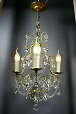 French Antique Gilt Bronze Pendants Crystal Chandelier Cage Macaroni Beads 1920s